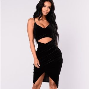 Fashion Nova Black Velvet Dress